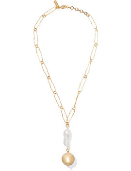 Pagoda Gold Plated Pearl Necklace by Mounser