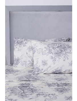 California King Yarn Dyed Flannel Toile Sheet 4 Piece Set   Grey/White by Melange Home