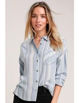 Kynlee Light Blue Striped Long Sleeve Top by Olive + Oak