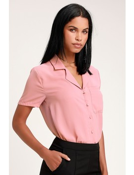 Good Luck Charm Mauve Short Sleeve Button Up Top by Lulus