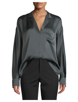 Long Sleeve Silk Pajama Popover Blouse by Vince