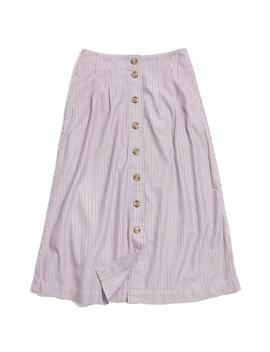 Patio Lilac Stripe Button Front Midi Skirt by Madewell