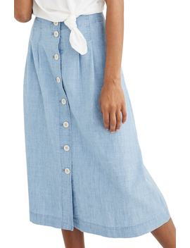 Chambray Patio Button Front Midi Skirt by Madewell