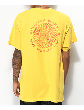 Huf X Spitfire Fire Swirl Yellow T Shirt by Huf
