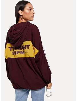 Contrast Striped Hooded Jacket by Romwe