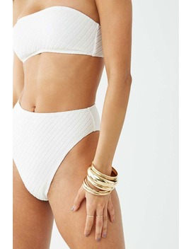 Ribbed High Waist Seersucker Bikini Bottoms by Forever 21