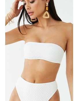 Ribbed Seersucker Bandeau Bikini Top by Forever 21