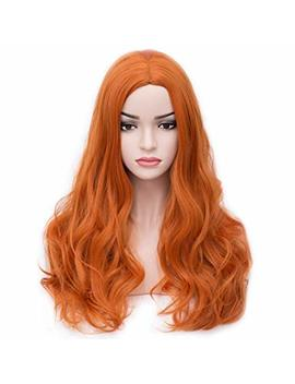 Beron 24'' Long Wavy Wig Center Parted Full Synthetic Wigs Wig Cap Included (Orange) by Beron