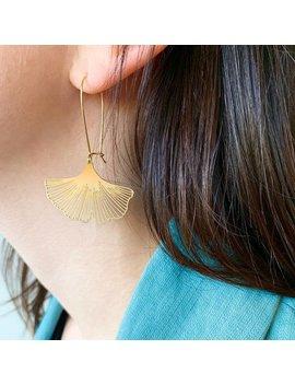 Ginkgo Biloba Leaf Earrings | Brass | Atl E 133 by Etsy