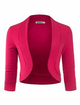 Doublju Womens 3/4 Sleeve Bolero Open Front Cardigan With Plus Size by Doublju