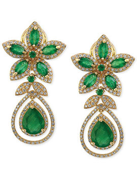 Brasilica By Effy® Emerald (5 1/4 Ct. T.W.) And Diamond (1 1/4 Ct. T.W.) Teardrop Earrings In 14k Gold, Created For Macy's by Effy Collection