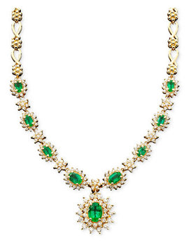 Royalty Inspired By Effy Emerald (3 3/8 Ct. T.W.) And Diamond (1 2/3 Ct. T.W.) Necklace In 14k White Gold, Created For Macy's by Effy Collection