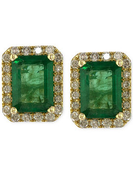 Brasilica By Effy Emerald (1 9/10 Ct. T.W.) And Diamond (1/4 Ct. T.W.) Stud Earrings In 14k Gold, Created For Macy's by Effy Collection
