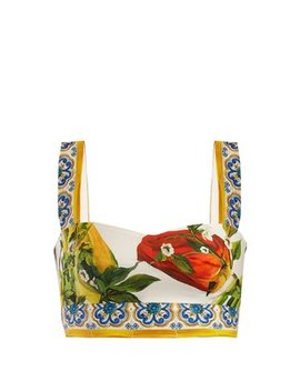 Majolica And Pepper Print Cotton Crop Top by Dolce & Gabbana