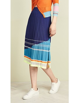 Slit Pleated Stripe Skirt by I Am Chen