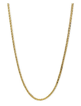 """14k Gold Necklace, 20"""" Diamond Cut Wheat Chain (9/10mm) by Macy's"""