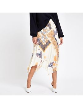 White Floral Print Pleated Midi Skirt by River Island