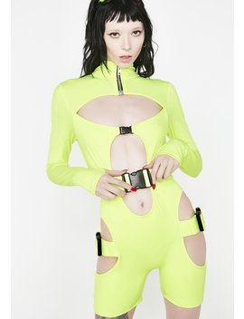 Slime Long Sleeve Zip Front Unitard by Lipt The Label