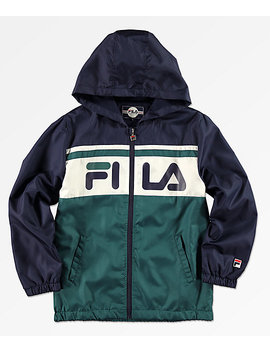 Fila Boys Green, Navy & White Colorblock Hooded Windbreaker Jacket by Fila