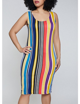 Plus Size Vertical Stripe Soft Knit Tank Dress by Rainbow
