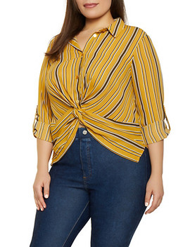 Plus Size Striped Twist Front Shirt by Rainbow