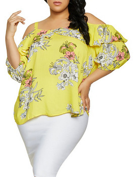 Plus Size Cold Shoulder Floral Top | 1803056125035 by Rainbow