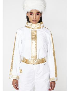 White And Gold Ski Suit by Tipsy Elves