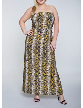 Plus Size Snake Print Tube Maxi Dress by Rainbow