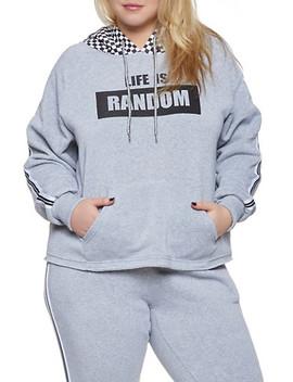 Plus Size Life Is Random Graphic Sweatshirt by Rainbow