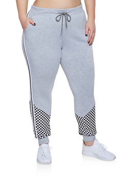 Plus Size Checkered Detail Striped Tape Sweatpants by Rainbow