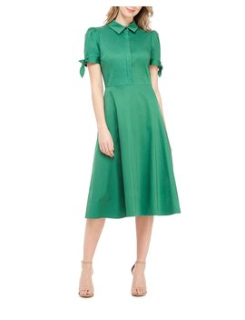 Button Front Puff Sleeve Soft Sateen Shirtdress by Gal Meets Glam Collection