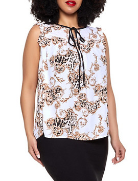 Plus Size Cheetah Swirl Print Blouse by Rainbow