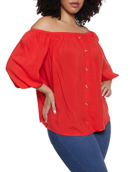 Plus Size Faux Button Off The Shoulder Top by Rainbow