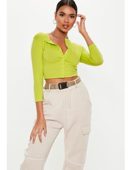 Neon Lime Button Front Long Sleeve Crop Top by Missguided