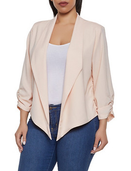 Plus Size Ruched Crepe Knit Blazer by Rainbow