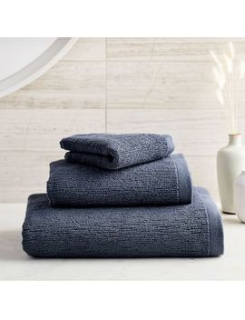 Organic Textured Towels   Granite Blue by West Elm