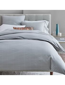 Organic Washed Cotton Windowpane Duvet Cover + Shams   Platinum/White by West Elm