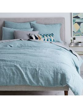 Belgian Flax Linen Fiber Dyed Duvet Cover   Light Pool by West Elm