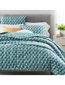 Hand Blocked Geo Prism Quilt + Shams by West Elm