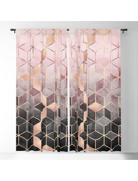 Pink And Grey Gradient Cubes Blackout Curtain by Society6