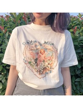 Uakuayu Jbh Women Vintage Style Cupid Flowers T Shirt Korean Fashion Ulzzang Grunge White Tee Aesthetic Art Shirt by Ali Express