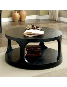 Furniture Of America Nela Farmhouse Antique Black Rustic Round Coffee Table by Furniture Of America
