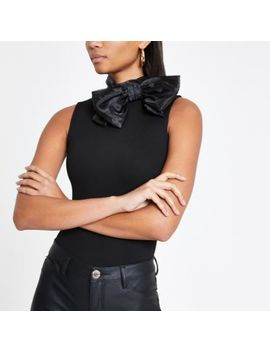 Black Bow Neck Bodysuit by River Island