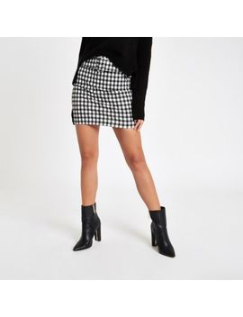 Black Gingham Belted Mini Skirt by River Island