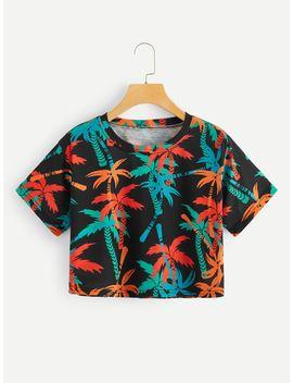Tropical Print Crop Tee by Romwe