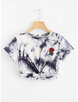 Embroidered Applique Twist Front Tie Dye Tee by Romwe