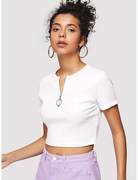 O Ring Zip Up Rib Knit Crop Tee by Romwe