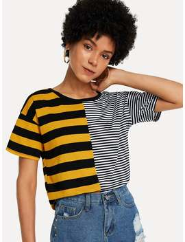 Cut And Sew Striped Tee by Romwe