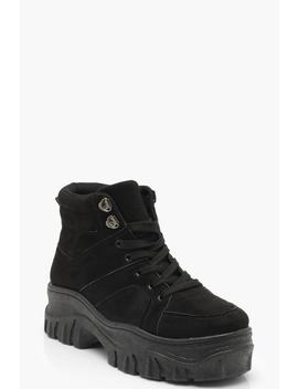 Lace Up Chunky High Top Trainers by Boohoo