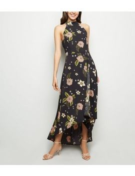 Mela Black Floral Dip Hem Maxi Dress by New Look